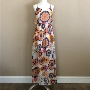 White Multicolored Medallion Racerback Maxi Dress